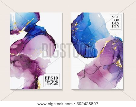 Abstract Marble Paint In Blue Pink Colors. Modern Poster With Alcohol Ink Splashes. Liquid Flow Desi