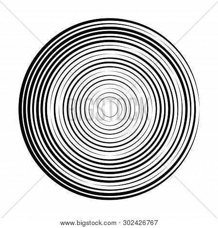 Vector Abstract Radial Background Of Concentric Ripple Circles. Circular Lines Graphic Pattern. Line