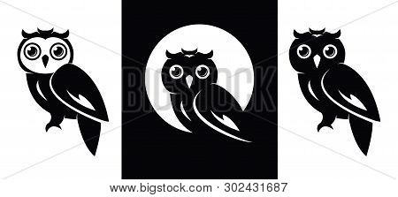 Vector Owl Icons Isolated On Whie Background. Owl Bird Logo Graphic Design, Wisdom Symbol