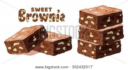 Vector Chocolate Brownies Isolated On White Background. Piles Of Brownie Cake Pieces With Nuts As Ho