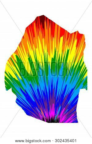 Swaziland - Map Is Designed Rainbow Abstract Colorful Pattern, Kingdom Of Eswatini Map Made Of Color