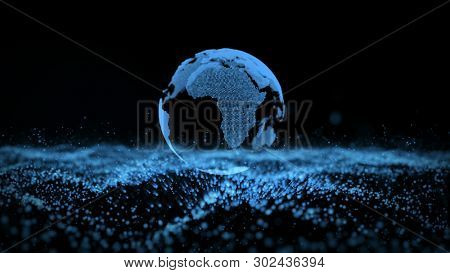Earth Landscape Particle Business Background. Planet Rotation Future Digital Technology Global Universe Surface. Nebula Space Exploration World Map Concept 3D Rendering