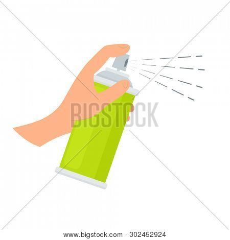 Hand holding spray can. Clip art isolated on white background