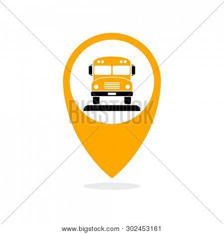 Shool bus tracking icon. Clipart image isolated on white background
