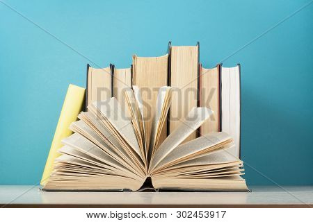 Open Book, Row Of Books On Wooden Table. Education Background. Back To School.
