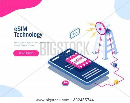 Esim Card Chip Sign. Gsm Tower Concept. Futuristic Projection Sim Card. Modern Telecommunication Tec