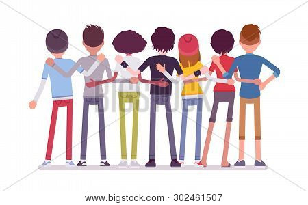 Group Of Teen Friends Rear View. Young People, Teenager Boys And Girls Standing Together, Adolescent