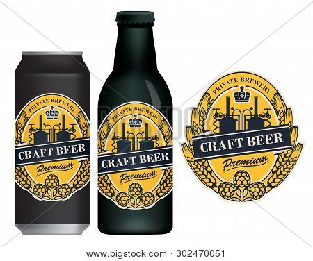 Vector Label For Craft Beer In Retro Style, Decorated By Wheat Or Barley Ears, Hops, Crown And With