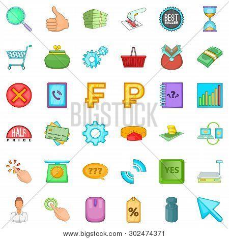 Cash Equivalent Icons Set. Cartoon Set Of 36 Cash Equivalent Icons For Web Isolated On White Backgro