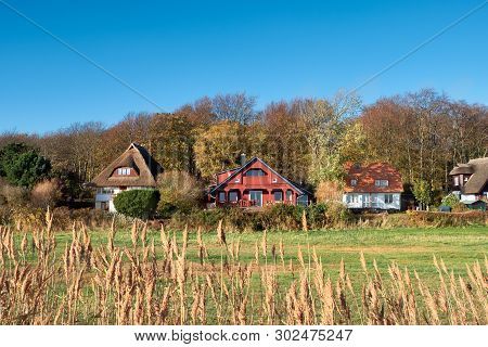 Traditional Houses In Kloster, Village On The North Of Hiddensee, A Car-free Island In The Baltic Se