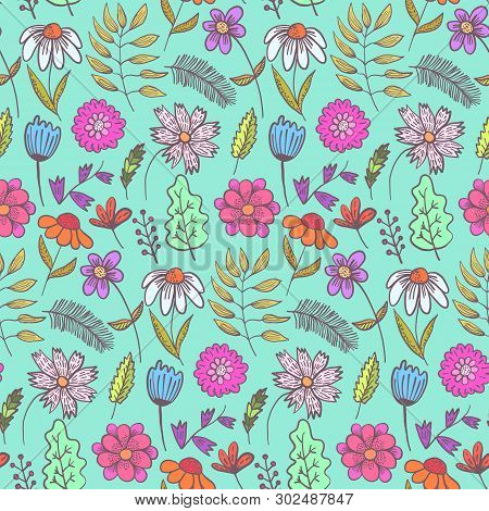 Bright Teal Doodle Floral Seamless Pattern With Colorful Flowers And Leaves. Childish Turquoise Text