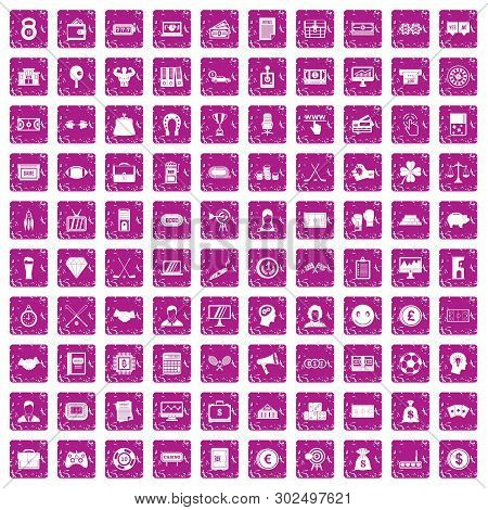 100 Sweepstakes Icons Set In Grunge Style Pink Color Isolated On White Background Illustration