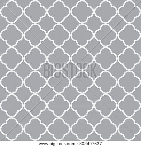 Blue Quatrefoil Outline Ornamental Pattern And Vector