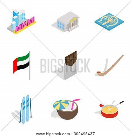 Leave Of Absence Icons Set. Isometric Set Of 9 Leave Of Absence Icons For Web Isolated On White Back