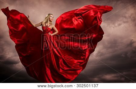 Woman Red Dress Wings, Fashion Model Silk Waving Gown, Flying Fluttering Fabric On Storm Wind
