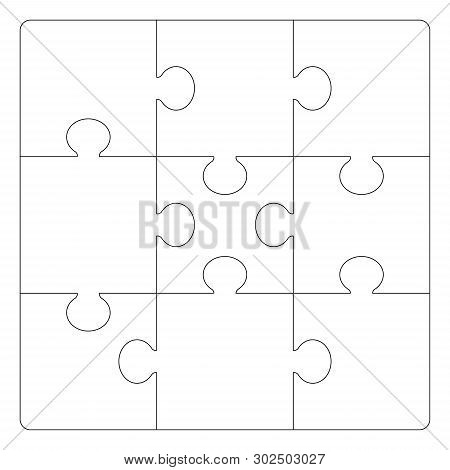 Puzzles Grid Template. Jigsaw Puzzle 9 Pieces, Thinking Game And 3x3 Jigsaws Detail Frame Design. Bu