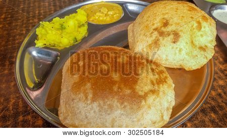 Channa Batura With Dips, Vegetarian Meal Of India.