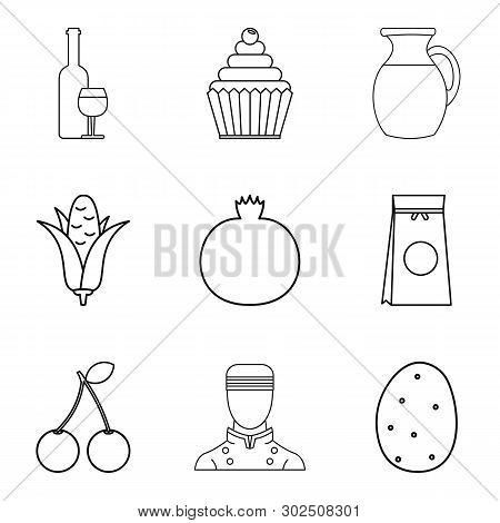 Vegan Ration Icons Set. Outline Set Of 9 Vegan Ration Icons For Web Isolated On White Background