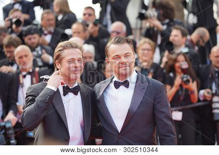 Brad Pitt and Leonardo DiCaprio attend the screening of
