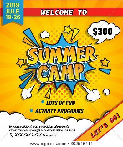Summer Camp Invitation Banner With Handdrawn Lettering In Comic Speech Bubble On Halftone Background