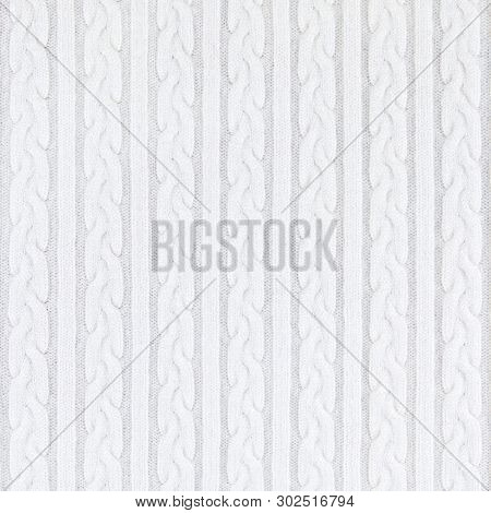 Knitwear Fabric Texture with Pigtails and stripes. Repeating Machine Knitting Texture of Sweater. White Knitted Background. poster