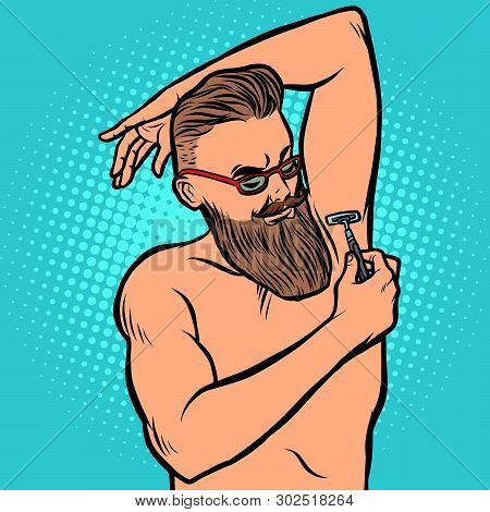 Bearded Hipster Man Shaves His Armpit With A Razor. Comic Cartoon Pop Art Retro Illustration Drawing