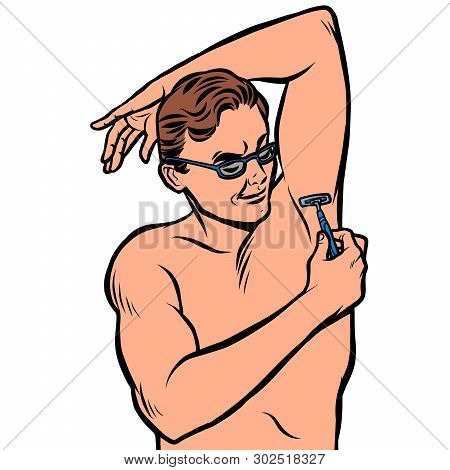 A Man Shaves His Armpit With A Razor. Isolate On White Background. Comic Cartoon Pop Art Retro Illus