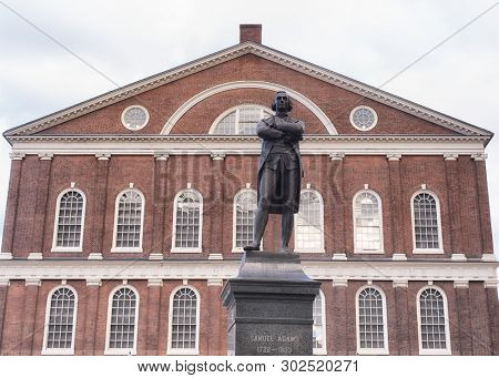 Boston, Massachusetts.  October 30, 2019. The Red Brick Exterior Architecture Of The Historic Faneui
