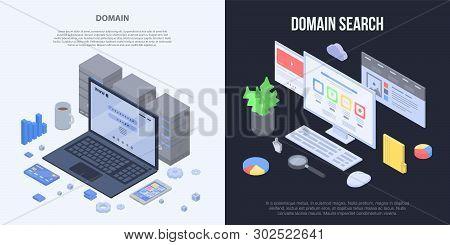 Domain Banner Set. Isometric Set Of Domain Vector Banner For Web Design