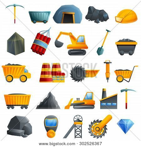 Coal Industry Icons Set. Cartoon Set Of Coal Industry Vector Icons For Web Design