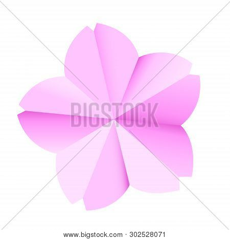 Papercraft Pink Sakura Flower Illustration In Vector. With Gradients. Isolated.