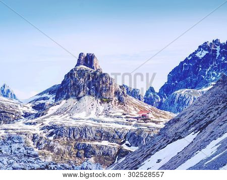 Mountains And Footpath In Sexten Dolomites,  South Tyrol, Italy.  Very Popular Touristic Alpine Rang