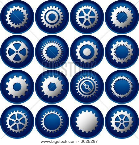 Sixteen Cog Buttons Or Icons