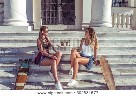 Two Girls Friends Girlfriends, Sitting On Steps Institute And College, Talking Talk, Skate, Longboar