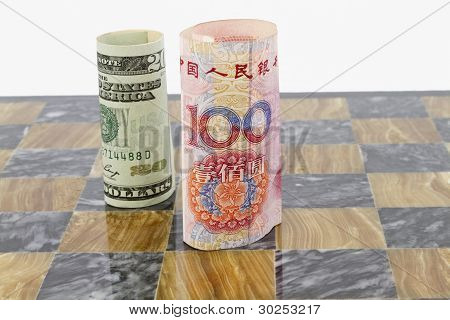 Dollar And Yuan On Chess Board