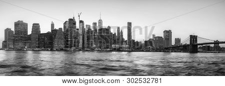 Black And White Panoramic View Of New York City Silhouette At Sunset, Usa.