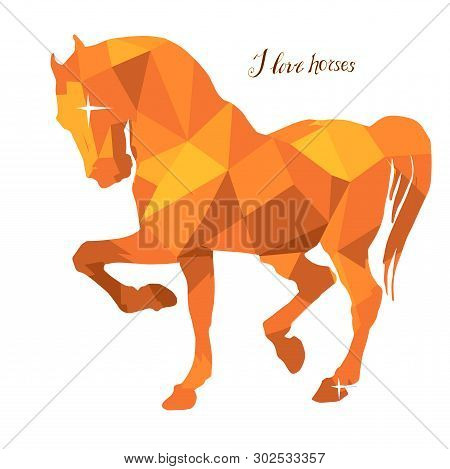Amber Color , Prancing Stallion Vector-isolated Images On White Background In Low Poly Style And Let