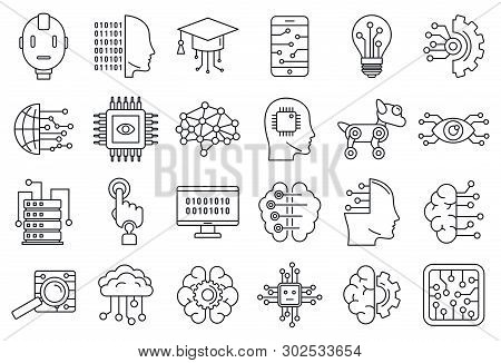 Artificial Intelligence System Icons Set. Outline Set Of Artificial Intelligence System Vector Icons