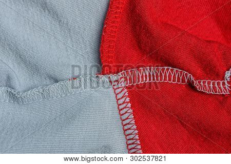 Red Gray Cloth Texture From A Crumpled Piece Of Fabric