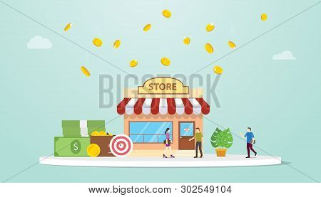 Open Offline Store Or Shop Business Building Concept With Team People And Money With Modern Flat Sty