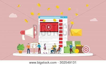 Video Marketing Campaign Concept With Social Media Team Business Marketing With Modern Style - Vecto