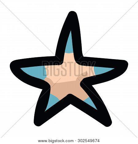 Cute Tiny Starfish Set Cartoon Vector Illustration Motif Set. Hand Drawn Isolated Aquarium Invertebr