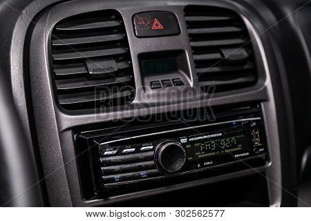 Novosibirsk, Russia - May 20, 2019:  Hyundai Sonata, Close-up Of The Dashboard, Adjustment Of The Bl