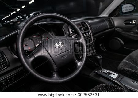Novosibirsk, Russia - May 20, 2019:  Hyundai Sonata ,  Close-up Of The Dashboard, Speedometer, Tacho