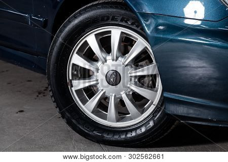 Novosibirsk, Russia - May 20, 2019:  Hyundai Sonata , Close-up Of The Wheel. Photography Of A Modern