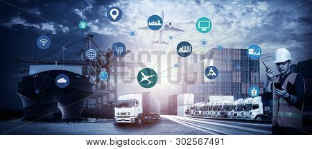 Business Logistics Concept, Foreman Working With Global Business Connection Technology Interface Glo