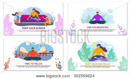 Keep Calm Always, Time For Meditation, Relax Banner Set. Cartoon People Meditate. Mother Meditation,