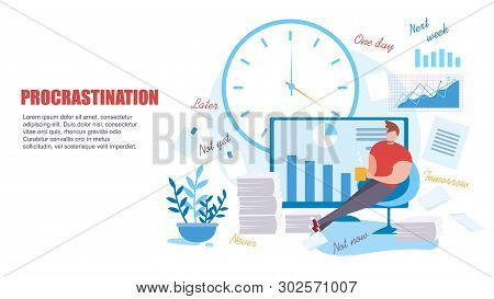 Cartoon Man Procrastinate At Work. Low Productivity Vector Illustration. Bored Male Office Worker Co