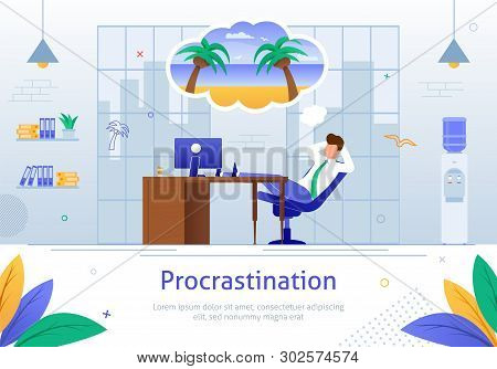 Procrastinating Businessman Sitting With Legs On Office Desk Postponing Work Banner Vector Illustrat