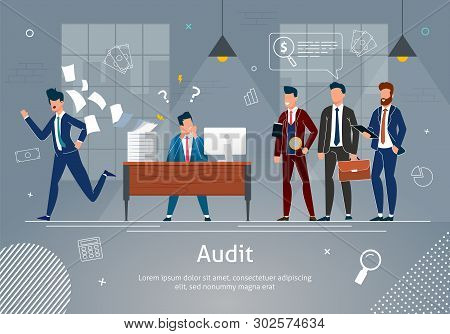 Office Team Banner Vector Illustration. Businessmen Cheking Work Of Man. Stressed Man At Workplace W